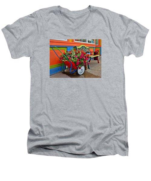 Tannersville Color Blast Men's V-Neck T-Shirt by Nancy De Flon