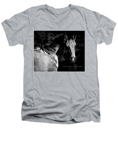 Taos Pony In B-w Men's V-Neck T-Shirt