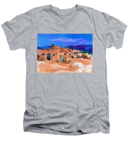 Taos Pueblo Village Men's V-Neck T-Shirt