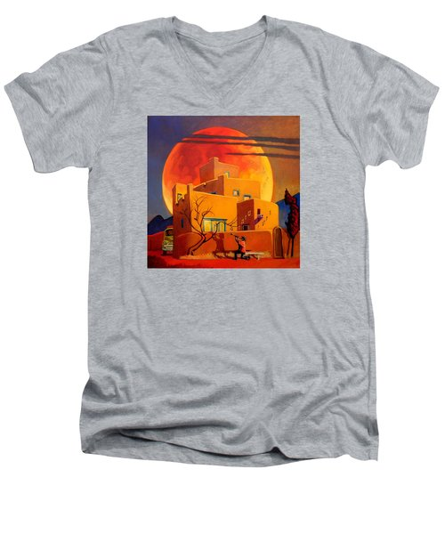 Men's V-Neck T-Shirt featuring the painting Taos Wolf Moon by Art West