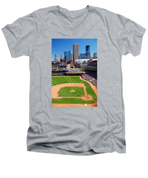 Target Field, Home Of The Twins Men's V-Neck T-Shirt by James Kirkikis