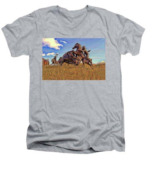 Tatanka Men's V-Neck T-Shirt by Dave Luebbert