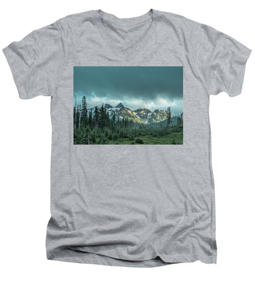 Tatoosh With Storm Clouds Men's V-Neck T-Shirt