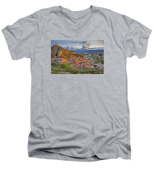 Tblisi Dawn Men's V-Neck T-Shirt by Dennis Cox WorldViews