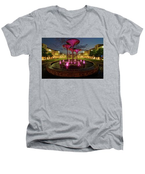 Men's V-Neck T-Shirt featuring the photograph Tcu Frog Fountain by Jonathan Davison