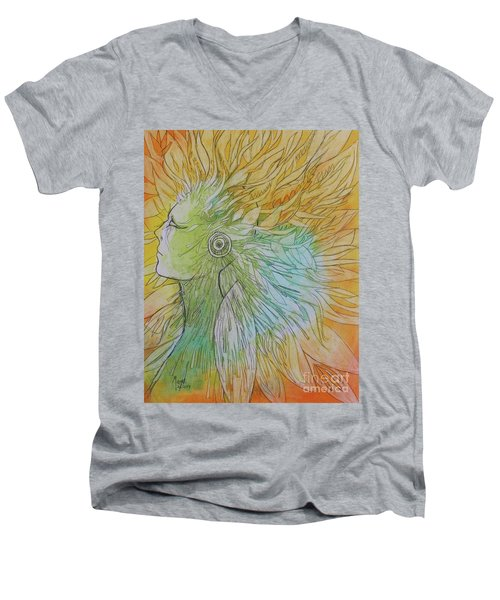 Men's V-Neck T-Shirt featuring the drawing Te-fiti by Marat Essex