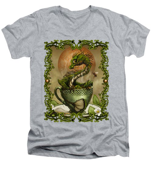 Tea Dragon T- Shirt Men's V-Neck T-Shirt by Stanley Morrison