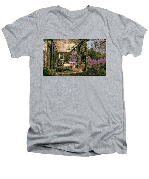 Men's V-Neck T-Shirt featuring the digital art Tea Garden by John Selmer Sr