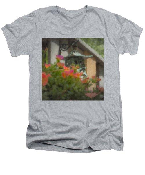 Tea Lantern And Portulaca Men's V-Neck T-Shirt