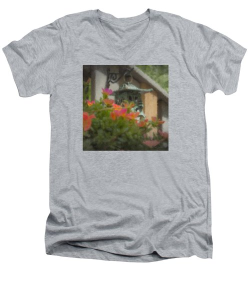Tea Lantern And Portulaca Men's V-Neck T-Shirt