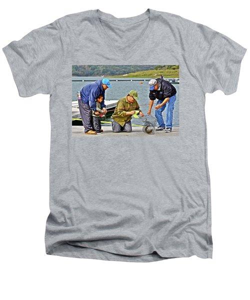 Teach Him To Fish Men's V-Neck T-Shirt