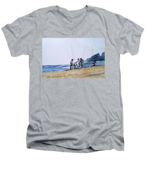 Teach Them To Fish Men's V-Neck T-Shirt