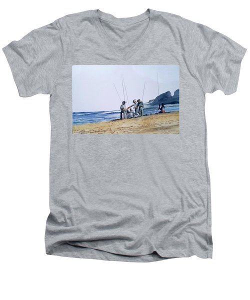 Teach Them To Fish Men's V-Neck T-Shirt