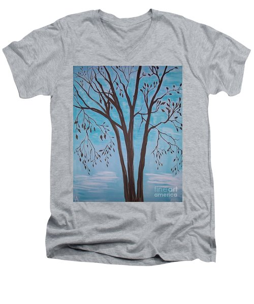 Men's V-Neck T-Shirt featuring the painting Teal And Brown by Leslie Allen