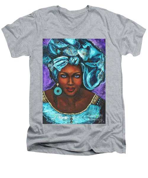 Men's V-Neck T-Shirt featuring the painting Teal Headwrap by Alga Washington