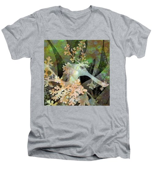 Teal Leafy Sea Dragon Men's V-Neck T-Shirt