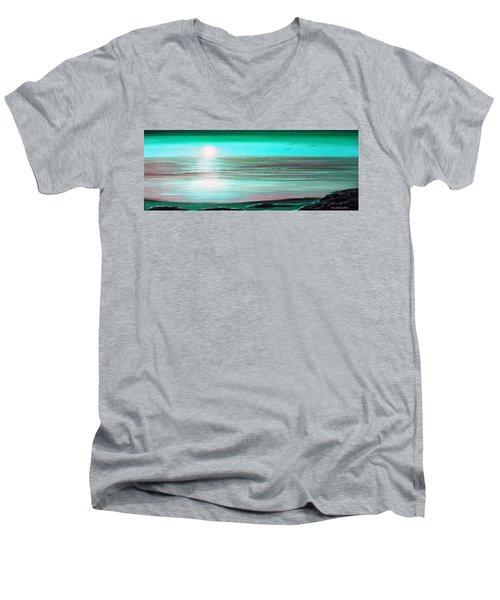 Teal Panoramic Sunset Men's V-Neck T-Shirt