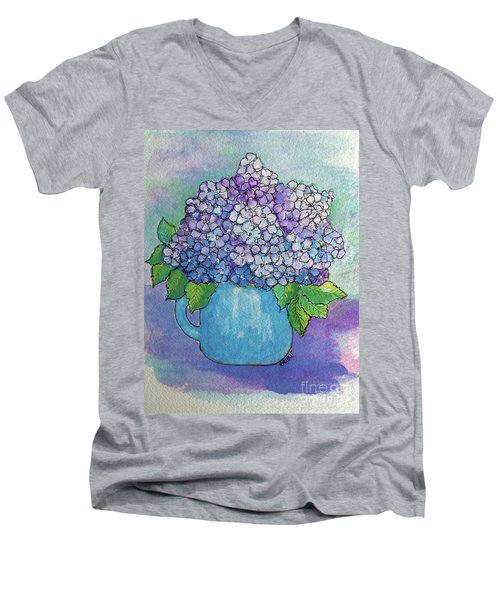 Men's V-Neck T-Shirt featuring the painting Teapot Hydranger by Rosemary Aubut