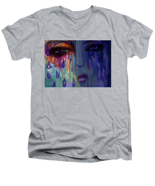 Men's V-Neck T-Shirt featuring the digital art Tearful  Dream by Diana Riukas