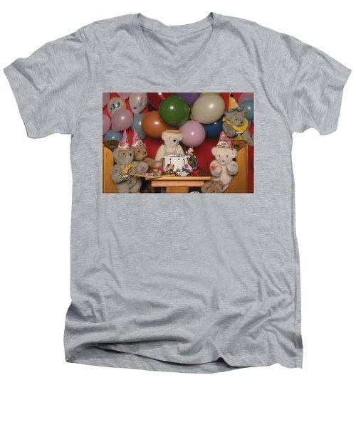Teddy Bear Party Men's V-Neck T-Shirt