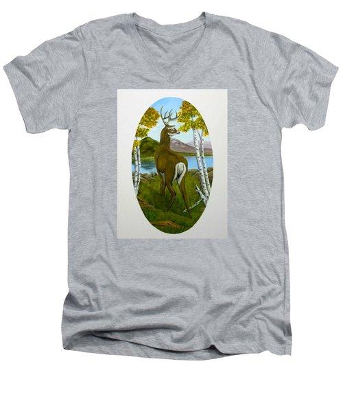 Teddy's Deer Men's V-Neck T-Shirt