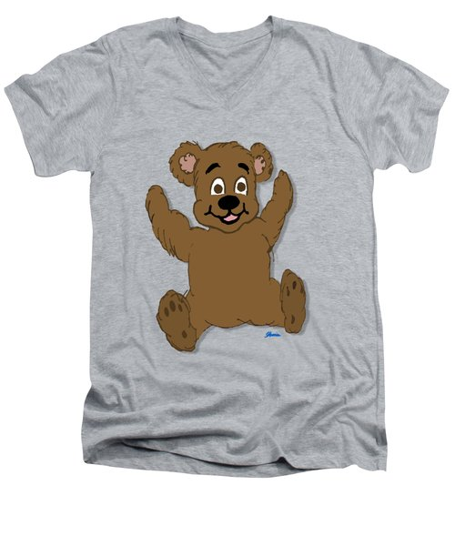 Teddy's First Portrait Men's V-Neck T-Shirt by Pharris Art
