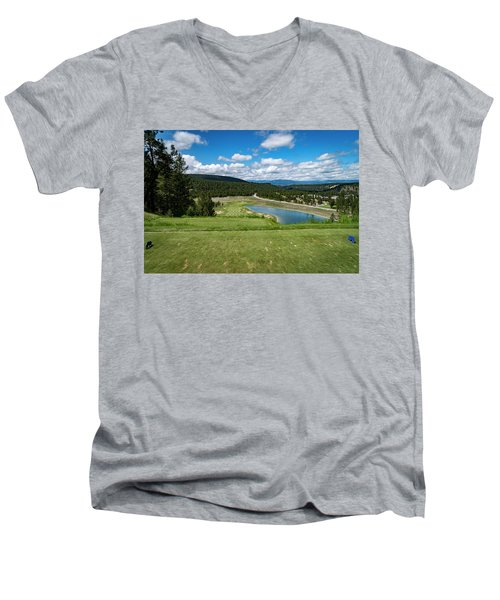 Men's V-Neck T-Shirt featuring the photograph Tee Box With As View by Darcy Michaelchuk