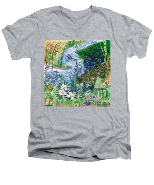 Teen Drawing -- Hummingbird Collecting Silk Men's V-Neck T-Shirt by Dawn Senior-Trask