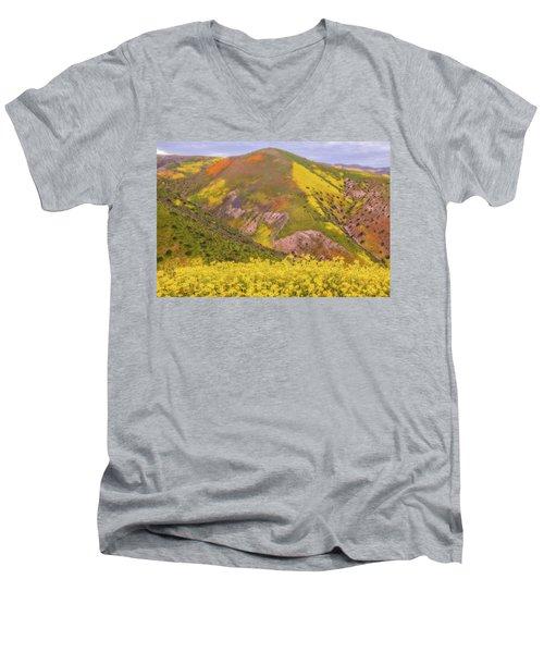 Men's V-Neck T-Shirt featuring the photograph Temblor Range Color by Marc Crumpler