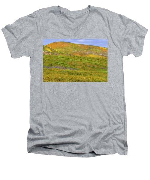 Men's V-Neck T-Shirt featuring the photograph Temblor Range Spring Color by Marc Crumpler
