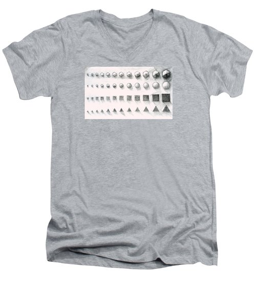 Men's V-Neck T-Shirt featuring the drawing Template by James Lanigan Thompson MFA