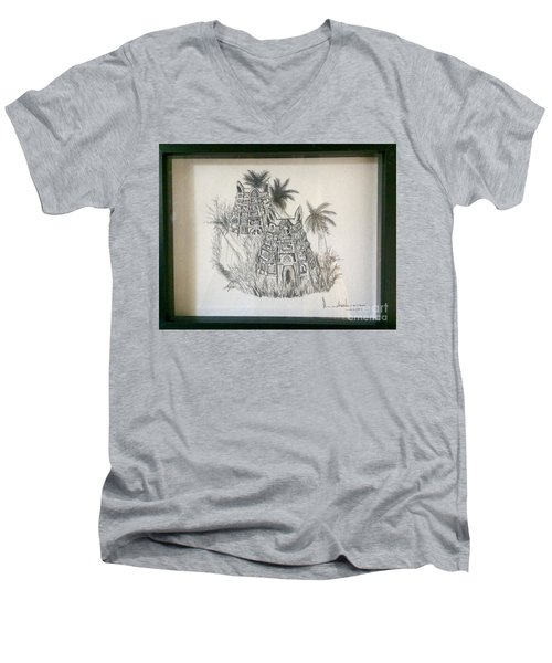 Men's V-Neck T-Shirt featuring the painting Temple In Calligraphy Ink by Brindha Naveen