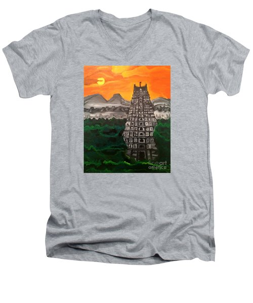 Men's V-Neck T-Shirt featuring the painting Temple Near The Hills by Brindha Naveen