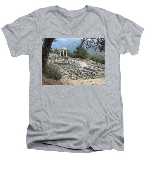 Temple Of Athena At Delphi Men's V-Neck T-Shirt