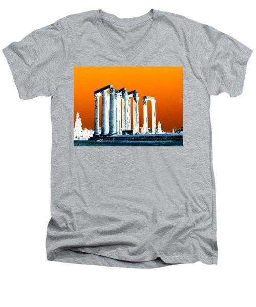 Temple Of Zeus, Athens Men's V-Neck T-Shirt by Karen J Shine