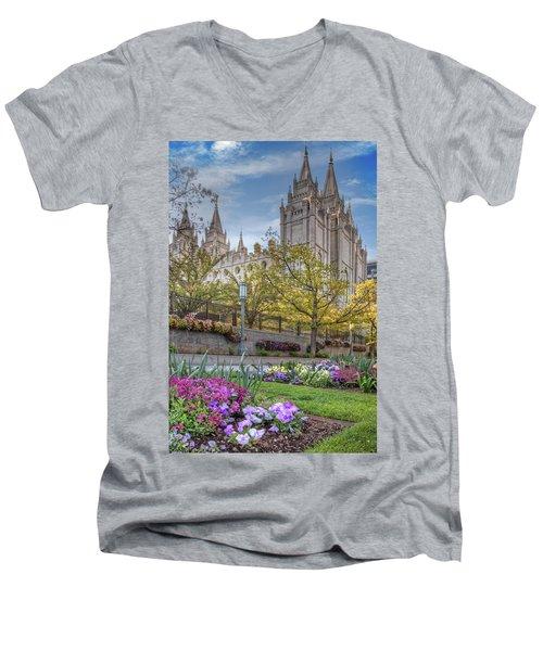 Temple Square Salt Lalke City Utah Men's V-Neck T-Shirt