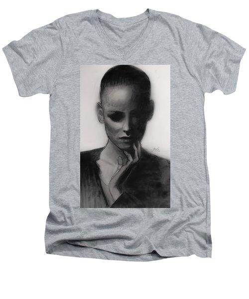 Men's V-Neck T-Shirt featuring the painting Temporary Secretary by Jarko Aka Lui Grande
