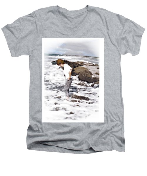 Men's V-Neck T-Shirt featuring the photograph Tempting by Desline Vitto