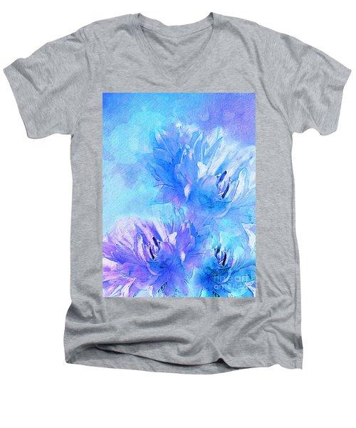 Men's V-Neck T-Shirt featuring the digital art Tenderness by Klara Acel