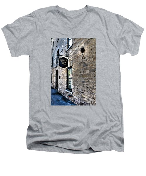 Mendon Town Hall Men's V-Neck T-Shirt by William Norton