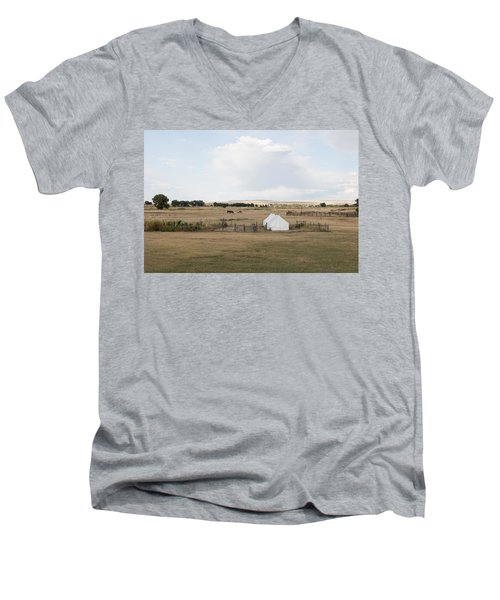 Men's V-Neck T-Shirt featuring the photograph Tents At Fort Laramie National Historic Site In Goshen County by Carol M Highsmith