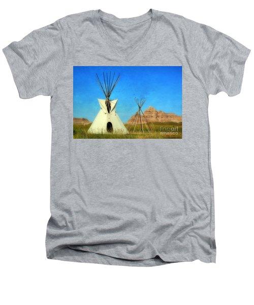 Tepee In Badlands Men's V-Neck T-Shirt