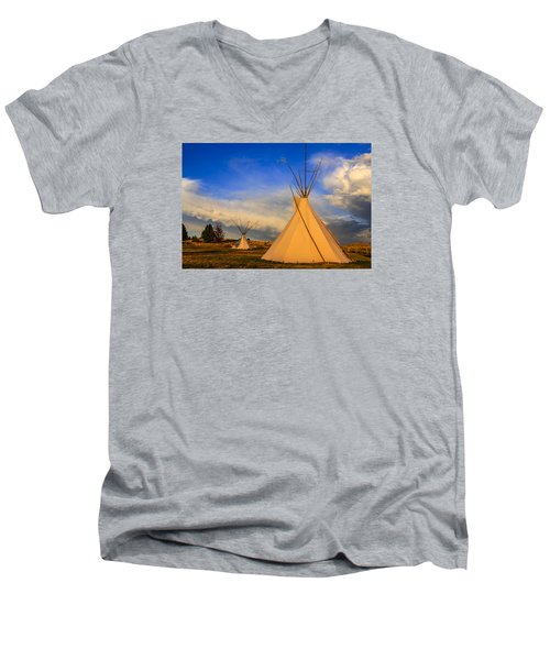 Tepees At Sunset In Montana Men's V-Neck T-Shirt by Chris Smith