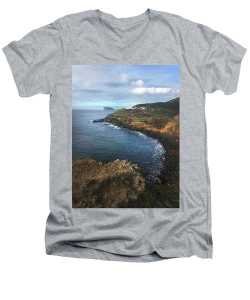 Terceira Island Coast With Ilheus De Cabras And Ponta Das Contendas Lighthouse  Men's V-Neck T-Shirt by Kelly Hazel
