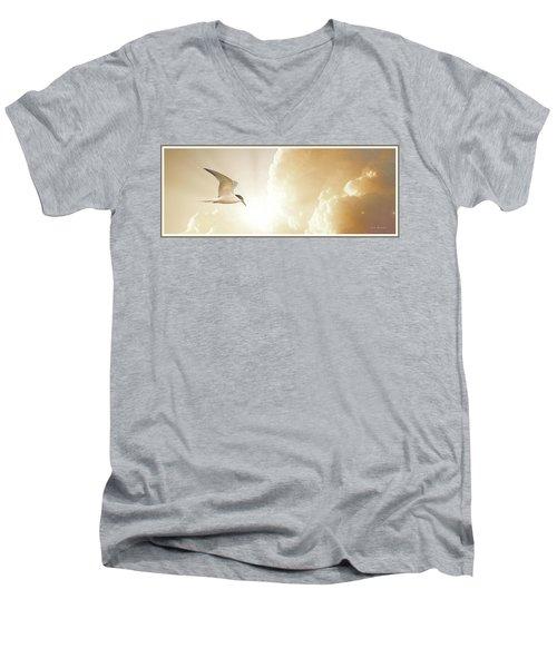 Tern In Flight, Spiritual Light Of Dusk Men's V-Neck T-Shirt