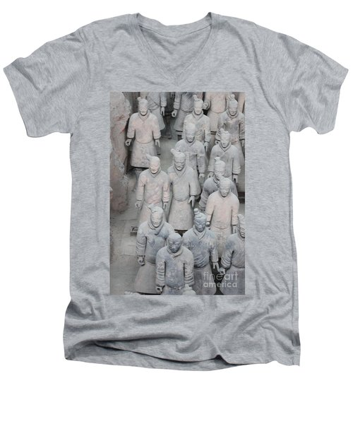 Terra Cotta Warriors Detail Men's V-Neck T-Shirt