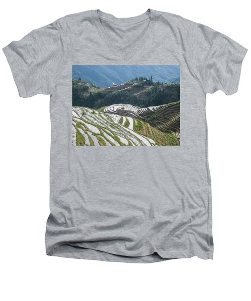 Terrace Fields Scenery In Spring Men's V-Neck T-Shirt