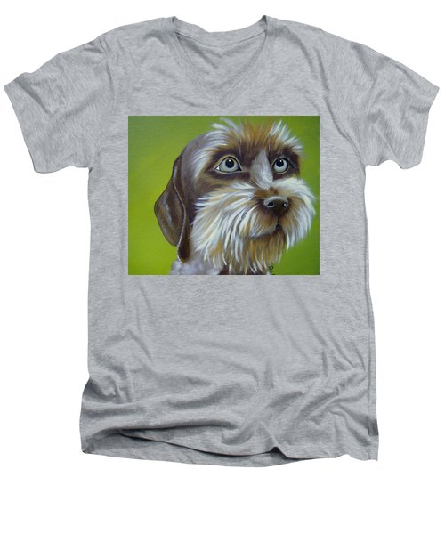 Terrier Waiting Patiently Men's V-Neck T-Shirt