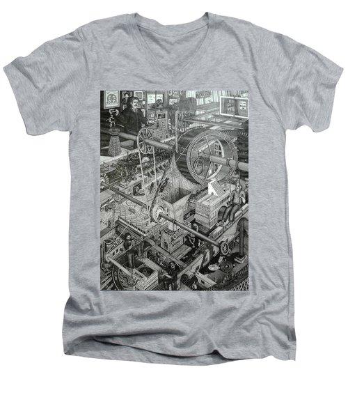 Teslas Free Energy  Men's V-Neck T-Shirt by Richie Montgomery