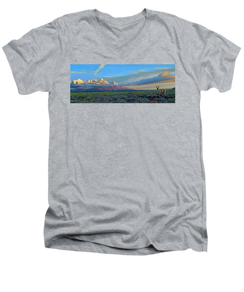 Teton Morning Men's V-Neck T-Shirt
